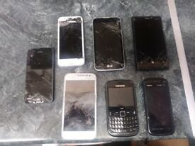 Multiple phones of different makes All are in working order just some need new screens