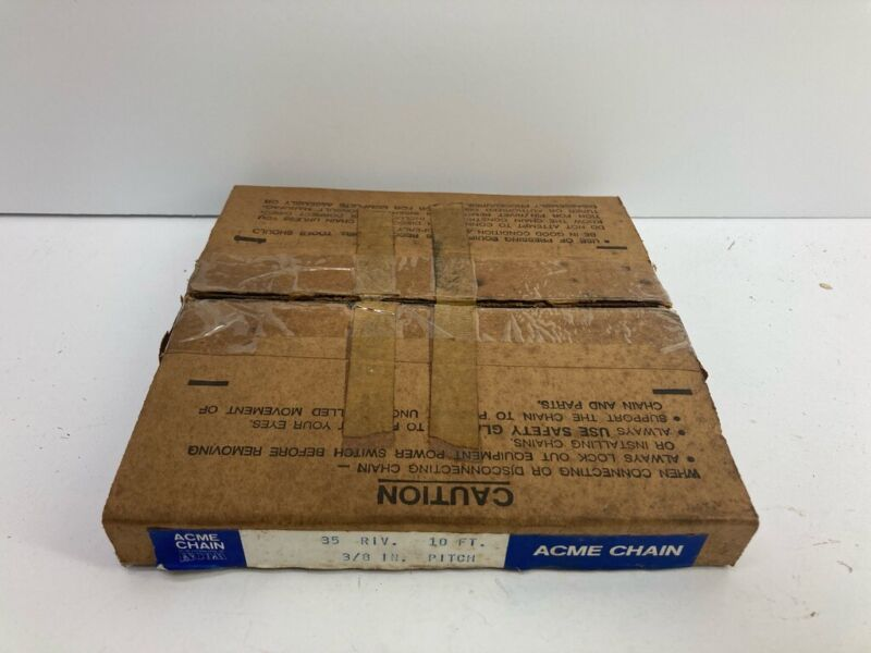 """NOS Acme Roller Chain ~ No. 35 ~ 10 ft. ~ Rivot Type ~ 3/8"""""""