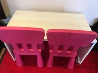 Childrens desk and 2 chairs