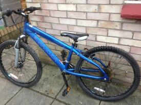 Barracuda mountain bike 24 inch wheels shimano gears front disc and suspension age 7 - 10 yrs