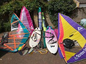 Windsurf Boards, Mistral + Bic, Full Quiver of Sails, Mast, Boom + Boom Extn, Mast Feet all Rigging