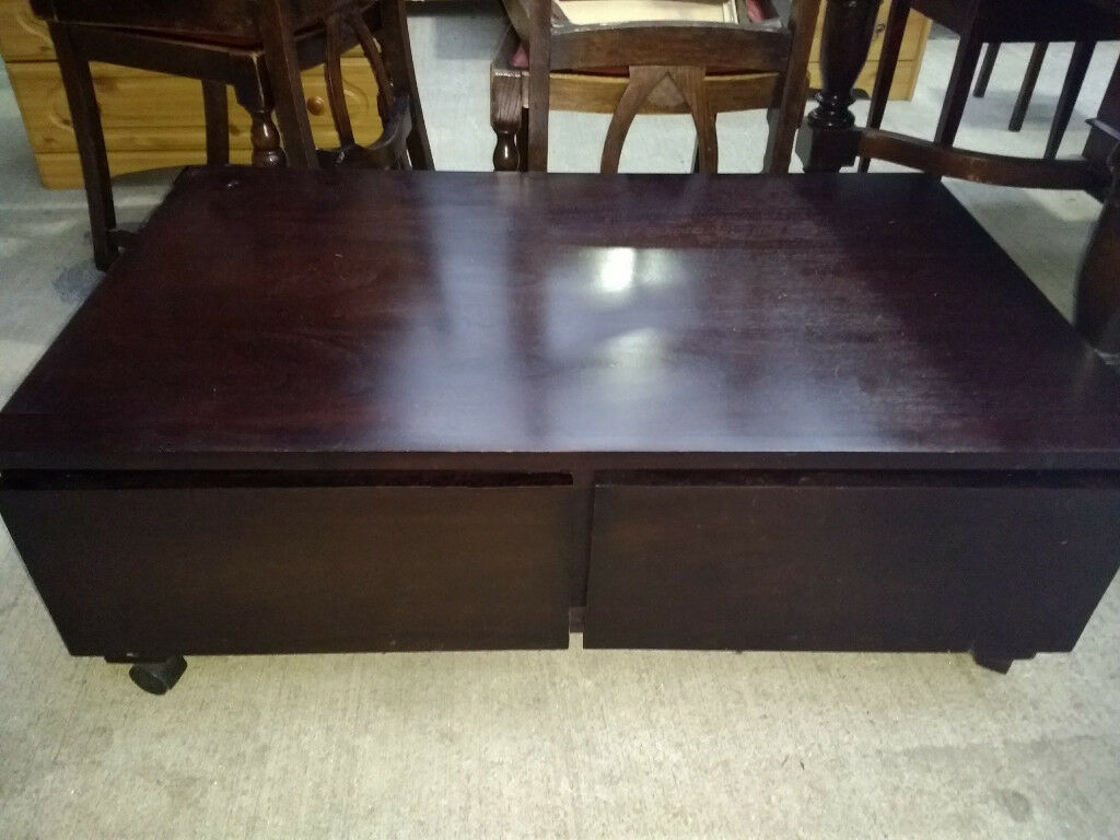 Storage Coffee Table Solid Wood