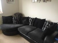 Black & grey dfs corner sofa