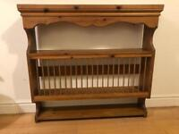 Vintage Wooden wall mounted plate rack