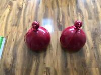 2 x red kitchen hanging lights