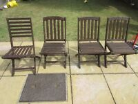 4 garden wooden chairs
