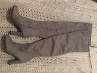 beautiful light grey high heeld boots NEW 38 / 5 suede fashionable hit cheap