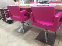 2 Salon Chairs/ Adjustable/ PINK/ USED