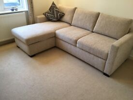 Sofa Bed L-shaped, excellent condition. King Size - Neutral colour - Storage for bedding