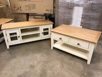 Set of Ready Assembled Two tone TV Unit and Coffee table in cream NEW!