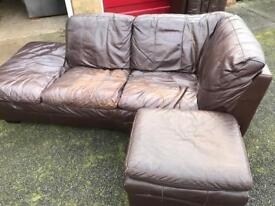 brown Leather chaise lounge