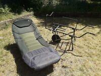 JRC Bedchair and Daiwa Infinity Barrow