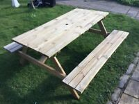 5 ft Picnic Table and Benches. Flatpack or Built. Pick up today.