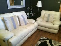 2 Seater Leather sofa(reclining) & armchair