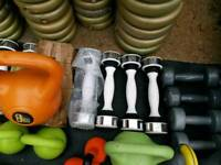 Ladies dumbells and mens weights available four or 5 kettlbells
