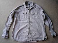 Fatface shirt, off-white with very thin blue stripes, size large