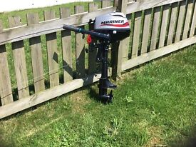 Brand new. Never used mariner 3.5hp 4 stroke short shaft engine with key cord and cover