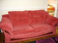 For sale 3 and 2 seater Raspberry sofas