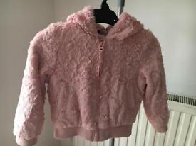 Faux fur pink coat age 3-4