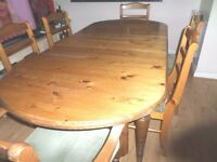 Ducal Pine Extendable Table and Six Chairs - REDUCED TO £75