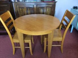 SOLID WOODEN ROUND TABLE (FOLDING) WITH 2 CHAIRS SOLD