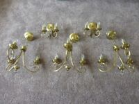 Candelabra style brass lights. Ceiling and wall, complete with bulbs.