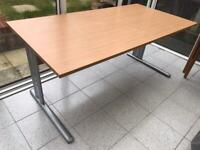 Oak Effect 160cm Straight Desk with Cantilever Legs (same size as IKEA)