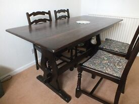 Dark Oak Dining Table and 4 Chairs