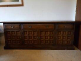 Modern Solid Dark Oak 4 Door 3 Drawer Large Wooden Sideboards Cabinet Storage Cupboard