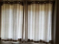 Beige Stripe Lined Curtains