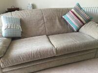 Maskrey's 3/4 & 2/3 Seater Textured Mink Coloured Sofas - v.g. Condition