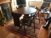 Fold out dining table and chairs