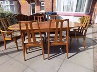 RETRO 1970's TEAK Dining Table, NATHAN Oval Extending Table, With 6 or 8 Chairs