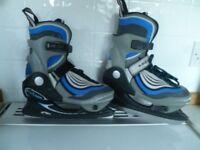 Kids Blue B SQUARE adjustable size ice skates (UK sizes 2-3.5)