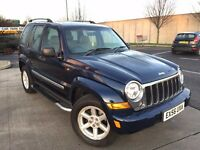 56 PLATE JEEP CHEROKEE 2.8 CRD DIESEL AUTO BLUE LOW MILEAGE ONLY 68K MILES SAT NAV GREY LEATHER