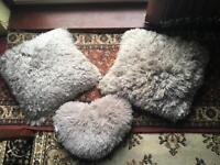 3 fluffy cushions grey ex condition covers & cushions £8