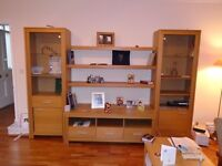 Glass / Oak Living Room Wall Cabinet/ Bookcase from Germany