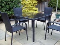 BLACK RATTEN 5 PIECE GARDEN SET