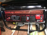 Petrol generator for sale. 2.5 kw continuous. Used less than half dozen times. VG working order