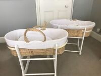 2 John Lewis white Moses baskets with rocking stands