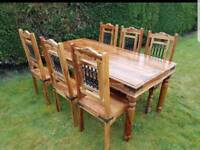 Solid Hardwood Table and Six 6 Chairs