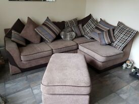 Brown corner sofa with cushion back. Immaculate condition ,scatter cushions