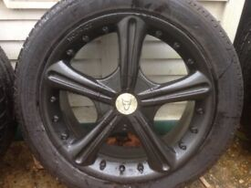 17 inch alloy wheels with nearly new 225-45-17 tyres