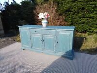 Super Shabby Chic large Sideboard. Blue & Green. Delivery Available.
