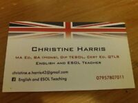 Experienced, qualified English teacher offering home tuition throughout the 6-week school holiday