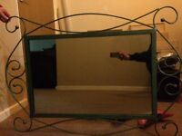 Large metal framed mirror good condition