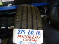 MATCHING SET 225 60 18 MICHELIN LATITUDES 7MM TREAD £80 PAIR £150 SET SUPP & FITD (loads more av}