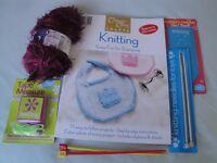 Knitting Book, needles, wool, tape measure