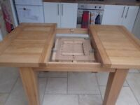 extendable oak dining table available with or without 3 chairs