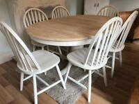 Extending Shabby Chic Oak Table and 6 Chairs